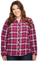 Columbia Plus Size Simply Puttm II Flannel Shirt Women's Long Sleeve Button Up