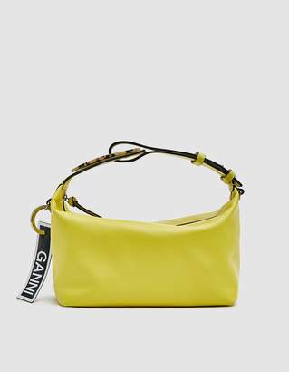 Ganni Leather Holdall in Lemon Verbana