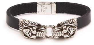 Gucci Tiger Head Leather Bracelet - Mens - Silver
