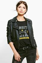 Boohoo Keira Faux Leather Biker Jacket With Belt