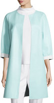Escada Reversible Leather Long Jacket, Off White/Mint