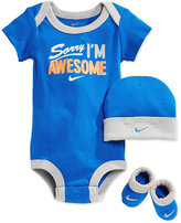 Nike Baby Boys' 3-Piece Awesome Bodysuit, Hat & Booties Set