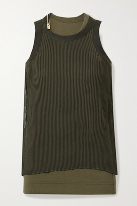 Sacai Layered Plisse-chiffon And Ribbed Cotton-blend Jersey Tank - Dark green