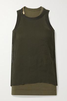 Sacai Layered Plisse-chiffon And Ribbed Cotton-blend Jersey Tank - Dark green
