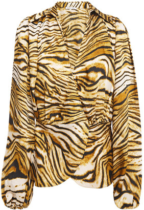 Ronny Kobo Wrap-effect Gathered Tiger-print Twill Blouse