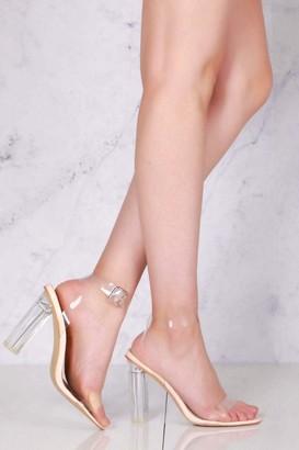 Miss Diva Gotta Clear Idea Block Heel Clear Strap Sandal in Clear
