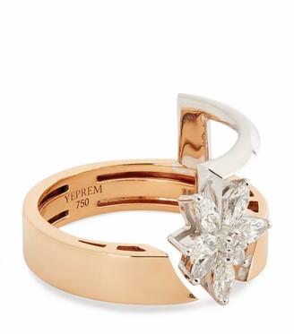YEPREM Yellow Gold and Diamond Electrified Ring