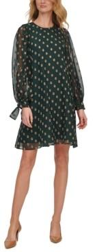 Calvin Klein Metallic Chiffon Shift Dress