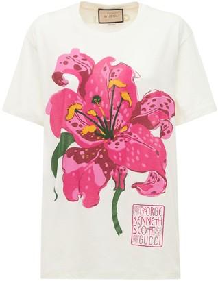 Gucci Flower Print Cotton Jersey T-Shirt
