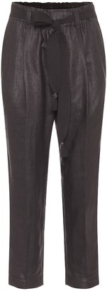 Brunello Cucinelli High-rise slim linen-blend pants