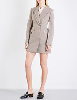 Stella McCartney Double-breasted tailored check wool-blend coat
