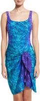 Gottex Chameleon Printed Silk Half Pareo, Turquoise/Purple