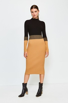 Karen Millen Colourblock Skinny Rib Knit Dress