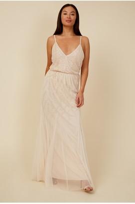 Little Mistress Bridesmaid Aida Nude Floral Embellished Maxi Dress
