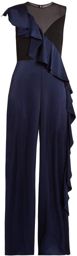 Diane von Furstenberg Asymmetric-ruffle wide-leg jumpsuit