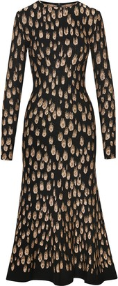 Oscar de la Renta Peacock Pattern Midi Dress