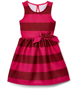 Aeropostale p.s. from Girls' Casual Dresses PINK - Pink Stripe Bow Fit & Flare Dress - Girls