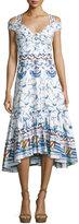 Peter Pilotto Bird & Floral Print Cold-Shoulder Midi Dress, Cotton