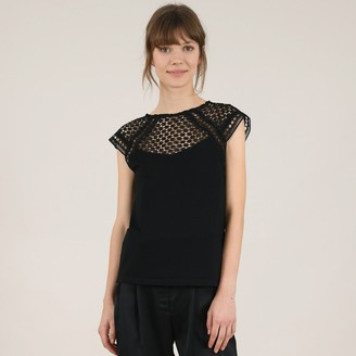 Molly Bracken Plain Lacy Front Blouse with Round-Neck