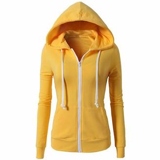 Women's Tops Toamen Womens Hoodies Sweatshirt Sale 2019 New Ladies Long Sleeve Active Pockets Casual Sport Zip up Hooded Jacket Coat(Yellow 12)