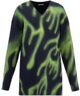 Balenciaga Graffiti Oversized Ribbed Stretch-wool Sweater - Mens - Green Multi