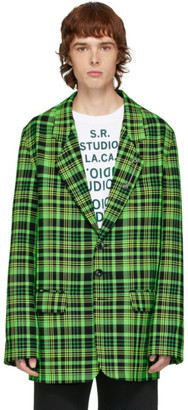 S.R. STUDIO. LA. CA. Green Open-Weave Check Blazer