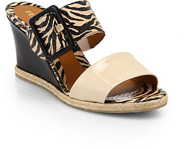 Fendi Zebra-Print Leather Double-Strap Wedge Sandals