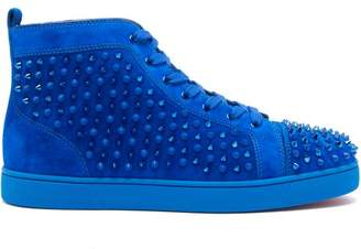 Christian Louboutin Louis Spike Embellished High Top Suede Trainers - Mens - Blue