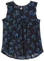 Lucky Brand Floral Jacquard Ruffle Tank