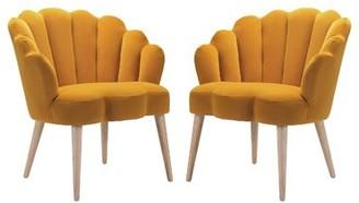 """Corrigan Studio Strayer 26.4"""" Wide Velvet Barrel Chair Fabric: Yellow"""