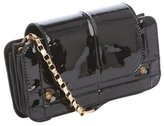Chloé black quilted patent leather gold accent strap shoulder bag