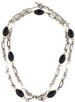 David Yurman Two-Tone Onyx & Pearl Figaro Link Necklace