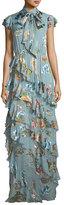 Alice + Olivia Leslie Tie-Neck Burnout Ruffled Silk-Blend Maxi Dress