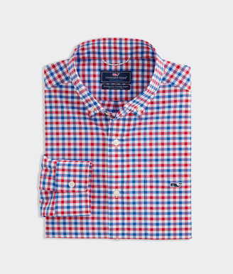 Vineyard Vines Big & Tall Classic Fit Grouper On The Go Performance Tucker Button-Down Shirt