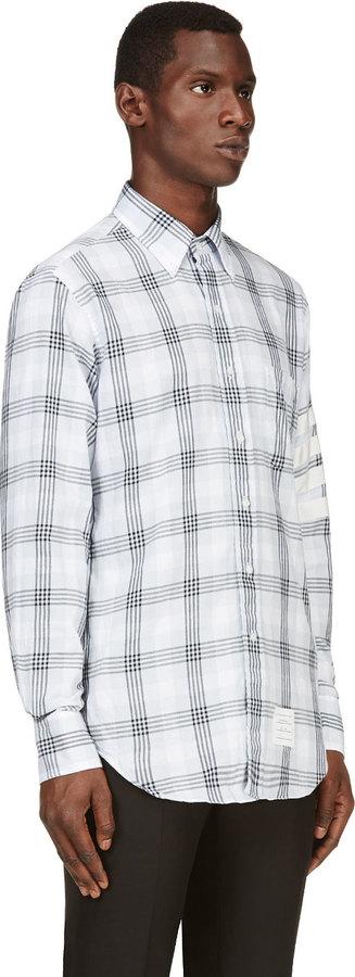 Thom Browne Grey Plaid Cotton Shirt