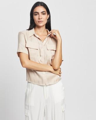 Glamorous Women's Brown Shirts & Blouses - Metallic Safari Blouse - Size 8 at The Iconic