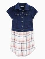 Splendid Little Girl Cap Sleeve Indigo Knit and Woven Top