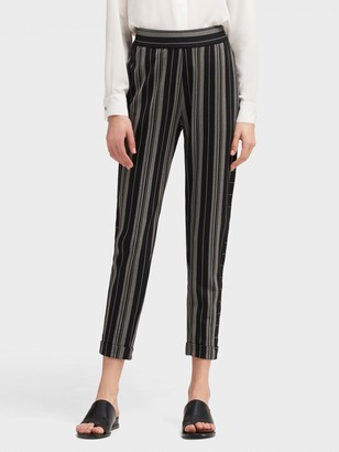 DKNY Women's Striped Ankle-crop Pant - Black Combo - Size L