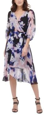 DKNY Floral-Print Wrap Dress