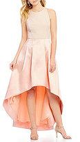 Eliza J Sleeveless Halter Neck Open Back Hi-Low Gown