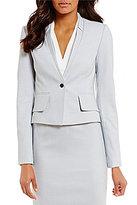 Calvin Klein Petites Birdseye Stretch Suiting Notched V-Neck Jacket