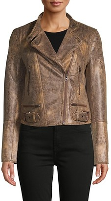 Free People Snake-Embossed Faux Leather Moto Jacket