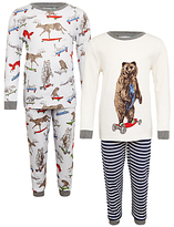 John Lewis Children's Skateboard Animals Print Pyjamas, Pack of 2