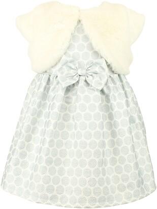 Popatu Dot Jacquard Party Dress & Faux Fur Shrug Set