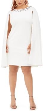 Adrianna Papell Size Rhinestone-Embellished Cape Dress