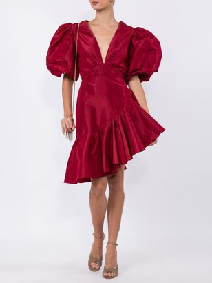 Red Silk Ruffled Dress