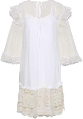McQ Crochet-trimmed Point D'esprit Mini Dress