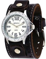 Nemesis #BBSTH093S Men's Wide Leather Cuff Band Sporty Collection Analog Silver Dial WatchS