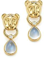 Temple St. Clair 18K Yellow Gold Lion Cub Diamond and Royal Blue Moonstone Drop Earrings
