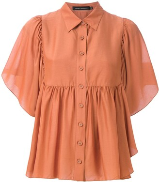 Andrea Marques Button-Up Ruffled Blouse